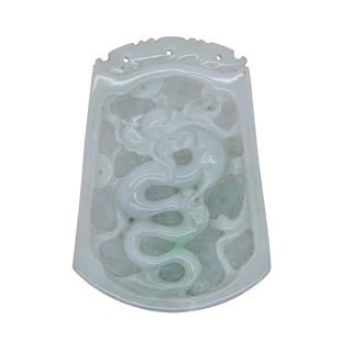 Natural Jade Chinese Rectangular Pendant Plate With Dragon and Luyi Flower Art For Sale