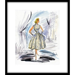 "1950s Reproduction Framed Print of Original Costume Sketch by Edith Head for Grace Kelly ""How to Catch a Thief"" For Sale"