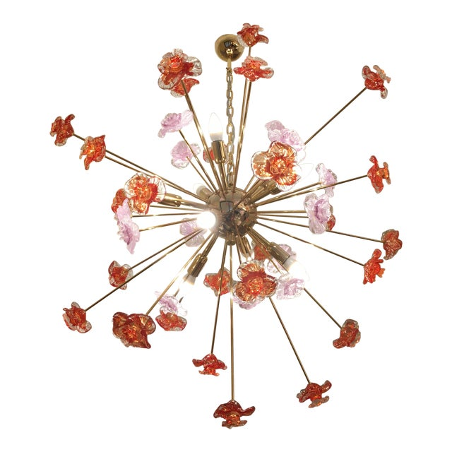 Murano Glass Flowers Chandelier For Sale - Image 9 of 10