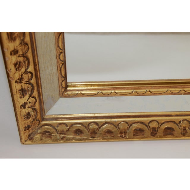 Florentine Mid-Century Gold and White Framed Mirror - Image 3 of 4