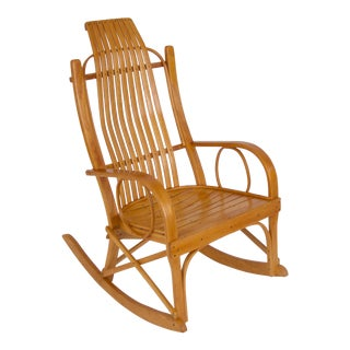 Bentwood Adirondack Rocking Chair with Slatted Seat For Sale