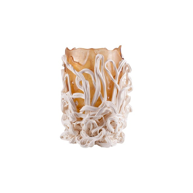Orange and white 'spaghetti' resin vase designed by architect & designer Gaetano Pesce. The body is created by different...