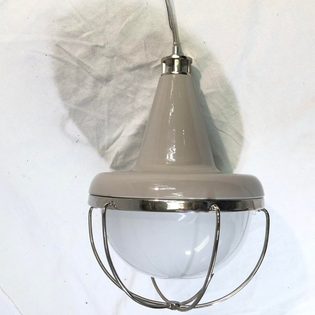Metal Feiss Livingston 1-Light Caged Ceiling Pendant For Sale - Image 7 of 13
