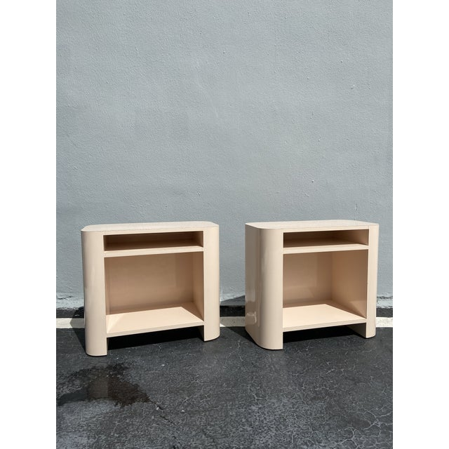 1980s Baby Pink Laminate Nightstands-a Pair For Sale - Image 4 of 4