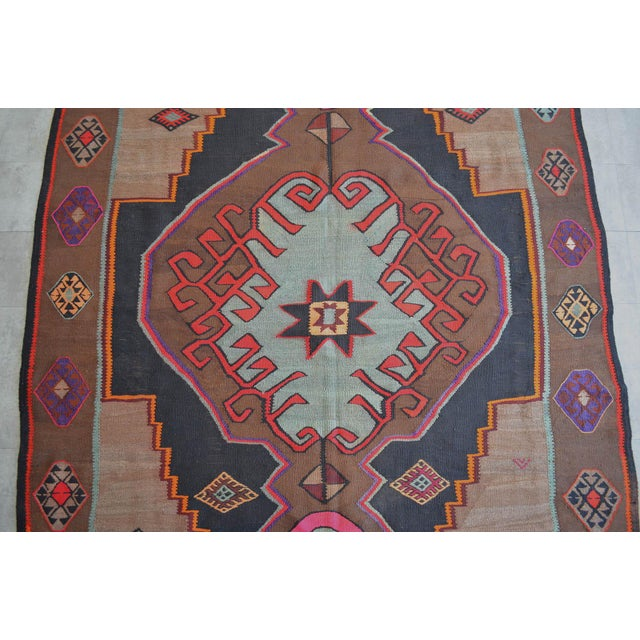 Handwoven Turkish Kilim Rug Anatolia Rug - 7′1″ X 11′6″ For Sale In New York - Image 6 of 10