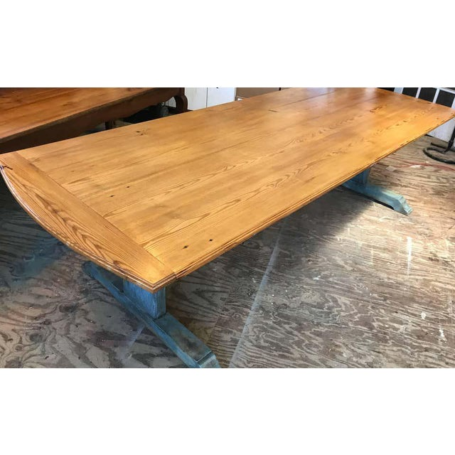 Mid-Century Modern 19th Century Scandinavian Painted Dining Table With Trestle Base For Sale - Image 3 of 7