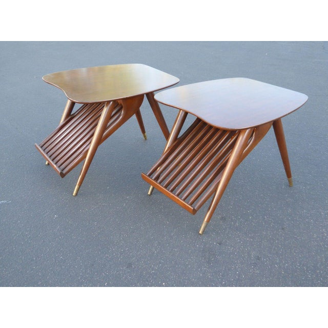 Danish Modern Magazine Rack Side Tables - A Pair - Image 6 of 11
