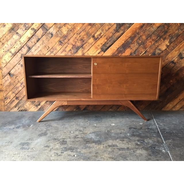 Mid Century Style Custom Walnut Sculpted Base Credenza For Sale In Los Angeles - Image 6 of 9