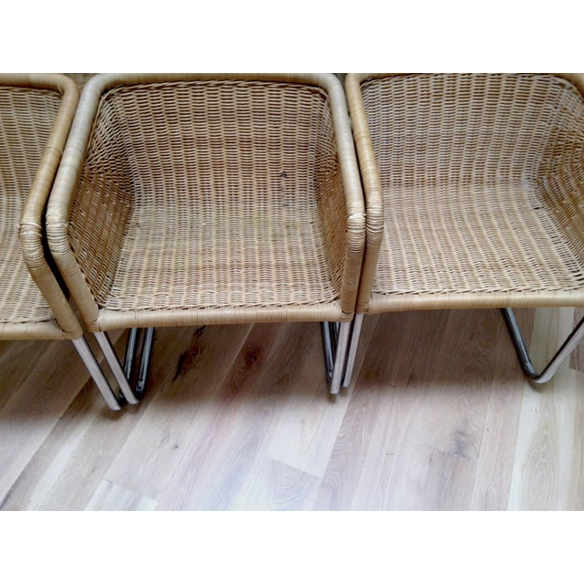 Harvey Probber Wicker & Chrome Chairs- Set of 6 - Image 7 of 7