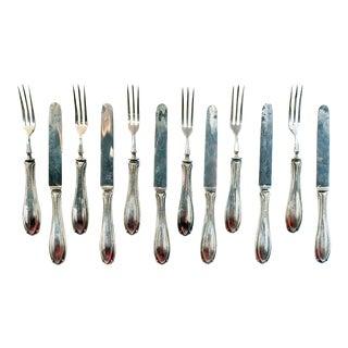 1919 Sterling Silver Dessert Knives & Forks - Set of 12 For Sale
