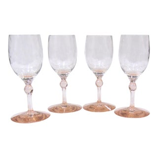 20th Century Hollywood Regency Pink Crystal Cocktail Glasses - Set of 4