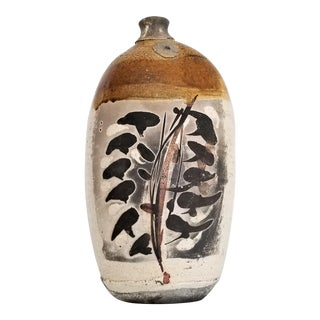 1970s Vintage Brutalist Japanese Studio Art Pottery Raku Vase-Ceramic Mid Century Organic Modern MCM Palm Beach Boho Chic Lava Sculptural Sculpture For Sale