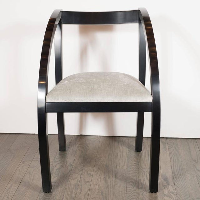 Set of Six Art Deco Dining Chairs by the Modernage Company in Walnut and Velvet For Sale In New York - Image 6 of 8