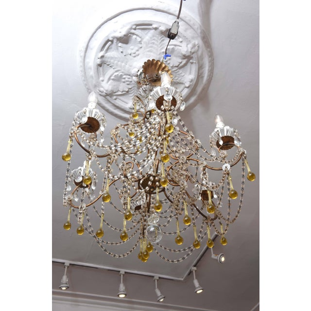 Mid 20th Century Vintage Venetian Glass and Gilt Metal Chandelier For Sale - Image 5 of 10