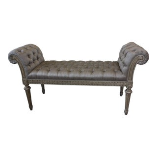 Traditional Marge Carson Trianon Court Silk Tufted Bench For Sale