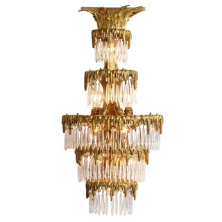 Tiered Brass Wall Light W/ Cut Crystal Spears by Caldwell Circa 1910