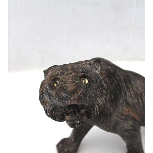 Rare 19th Century Iron Tiger Door Stop With Glass Eyes For Image 4 Of