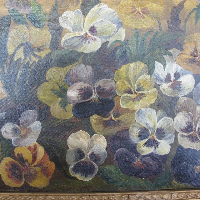 Framed Pansies Oil Painting - Image 10 of 10