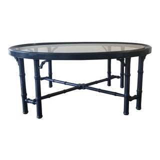 Navy Lacquered Faux Bamboo Coffee Table