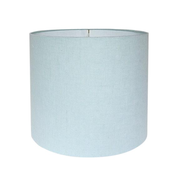 New, Made to Order, Robins Egg Blue Linen, Large Drum Shade For Sale