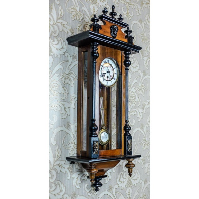 19th-Century Wall Clock With Carvings For Sale - Image 4 of 13
