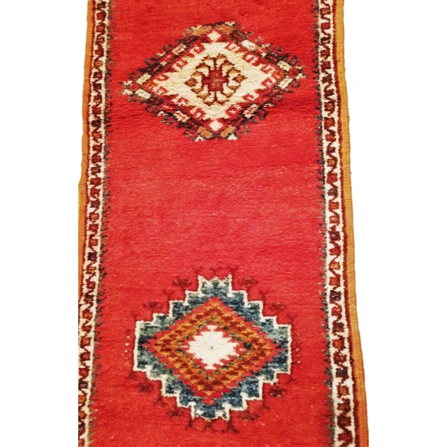 Coral and Turquoise Hallway Runner Pile Rug - Handmade Moroccan Taznacht - 2′3″ × 9′7″ - Image 5 of 7
