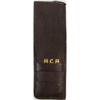 Mark Cross England 'Hch' Leather Case With Tortoise Comb & Sterling File Preview