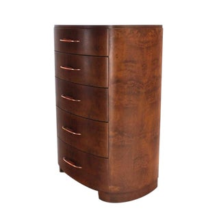 Art Deco 5 Drawer Rounded High Chest of Drawers Dresser For Sale