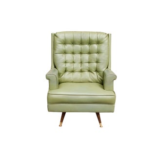 Mid Century Tufted Swivel Rocker Armchair in Avocado Green For Sale