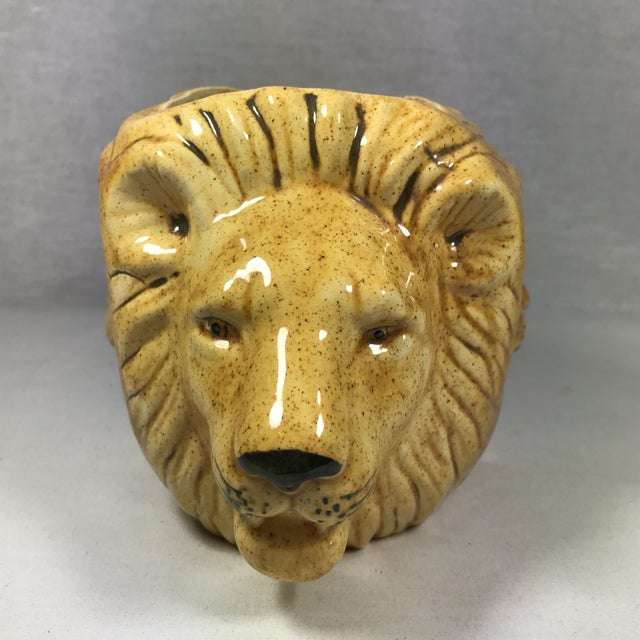 Mid-Century Lion Head Planter or Vase For Sale - Image 5 of 11