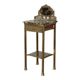 19th Century French Wood & Marble Side Table, 1 Drawer, Mirror, Cast Brass Ornaments For Sale