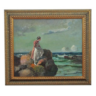 """Woman Looking at Sea"" Oil Painting by A. Neogrady For Sale"