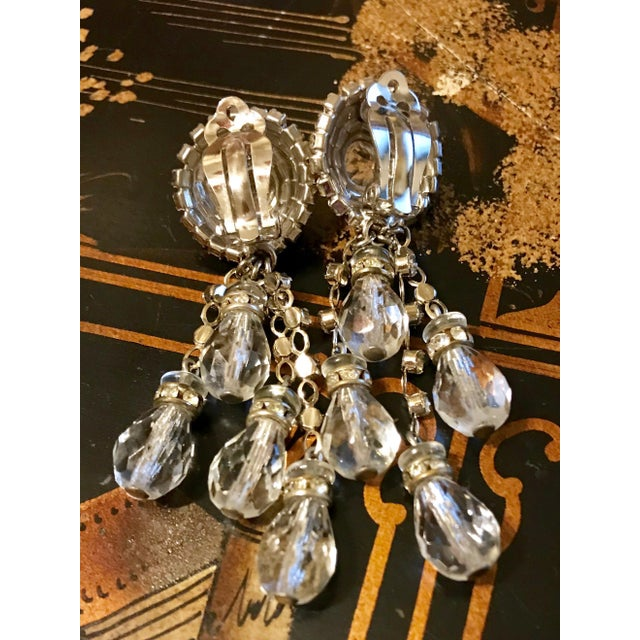 1960s 1960s William deLillo Crystal Chandelier Earrings For Sale - Image 5 of 6