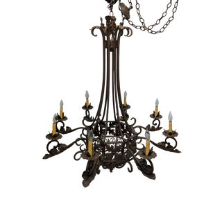 1920s Wrought Iron French Style Antique Eight Light Chandelier For Sale