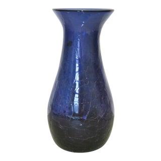 Blenko Purple Crackled Art Glass Vase For Sale