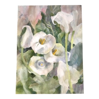 1980's Floral Watercolor Painting by Marilyn Hoeck Neal Calla Lily For Sale