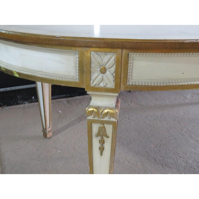"""Swedish banded distressed paint decorated dining table with gilt accents and 3 18"""" leaves. Table is 137"""" wide with leaves."""