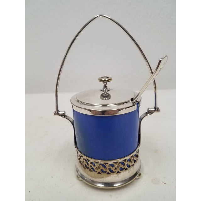 Blue Antique English Silver Plate Jam or Condiment Server With Blue Jar and a Spoon For Sale - Image 8 of 8