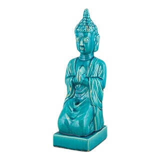 Large Meditating Buddha Glaze Sculpture Turquoise Color For Sale