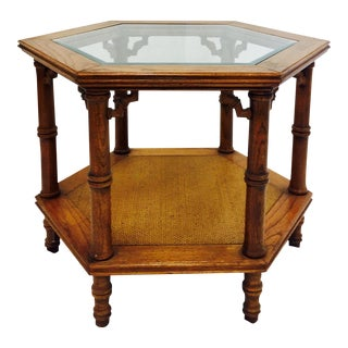 Vintage Chippendale Style Faux Bamboo Side Table
