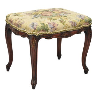 Louis XV French Style Upholstered Carved Mahogany Foot Stool Bench For Sale