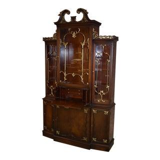 1960s Regency Ornate Mahogany China/Bookcase/Secretary For Sale