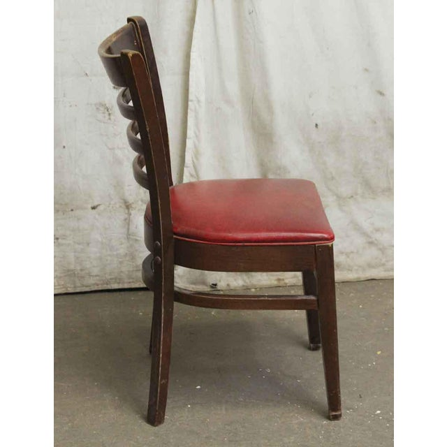 Dark Wood Red Seated Chair - Image 3 of 5
