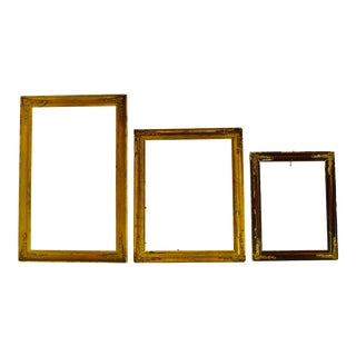 Antique Victorian Wood Picture Frames W/ Brass Corner Adornments - Group of 3 For Sale
