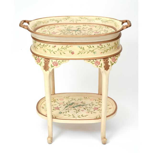 Vintage French wood hand painted serving / side tray table with bottom shelves. The serving tray table is in excellent...