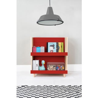 "Minimo Modern Kids 31"" Bookcase in Birch With Red Finish Preview"