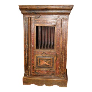 1920's Antique Boho-Chic Brown Nightstand For Sale