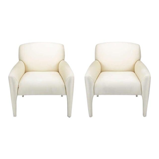 Pair Vladimir Kagan Lounge Chairs In Ivory Silk - Image 1 of 9