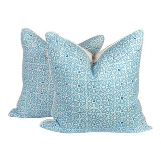 China Seas Nitik Turquoise & Ivory Pillows - a Pair For Sale