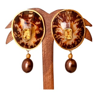 Tortoise Limpet Shell Earrings For Sale